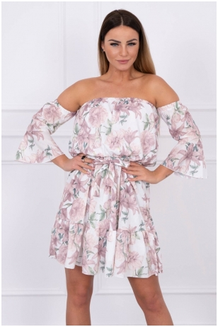 Gėlėta smėlinės spalvos suknelė MOD241