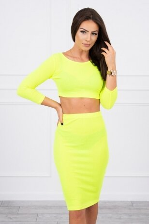 Geltonos neoninės spalvos moteriškas kostiumėlis MOD693