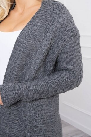 Grafito spalvos megztinis kardiganas MOD306