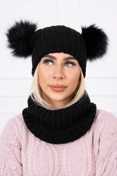 Juoda žieminė kepurė ir šalikas K120