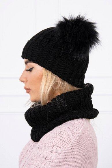 Juoda žieminė kepurė ir šalikas K120 2