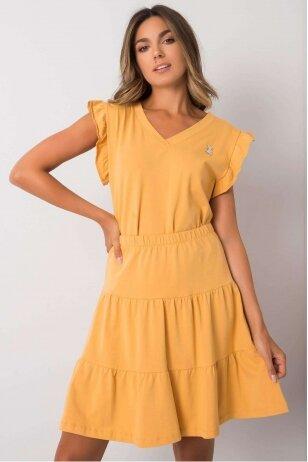 Tamsiai geltonas moteriškas kostiumėlis MOD1146
