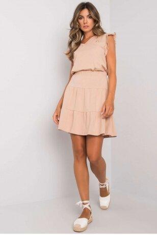 Šviesiai smėlinės spalvos moteriškas kostiumėlis MOD1146