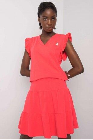 Koralinės spalvos moteriškas kostiumėlis MOD1146