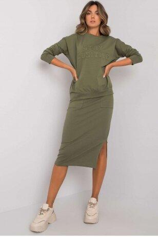 Chaki spalvos moteriškas kostiumėlis MOD1135