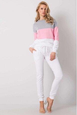 Baltos ir rožinės spalvos sportinis kostiumas MOD931
