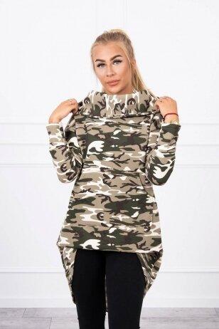 Marškinėliai MOD756 - chaki ir nebalintos drobės spalvos