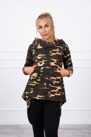 Marškinėliai MOD756 - chaki ir rudos spalvos