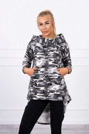 Marškinėliai MOD756 - pilkos ir juodos spalvos