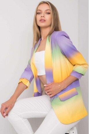 Violetinės ir geltonos spalvos švarkelis MOD1150