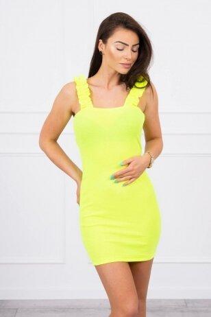 Neoninė geltona suknelė MOD692
