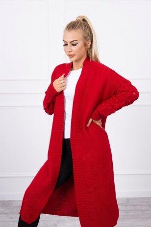 Raudonas ilgas megztinis kardiganas MOD729