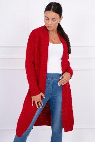 Raudonas megztinis kardiganas MOD306