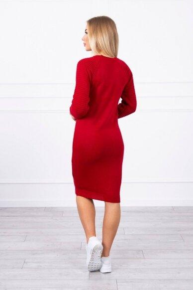 Raudonas ilgas megztinis suknelė MOD492 2