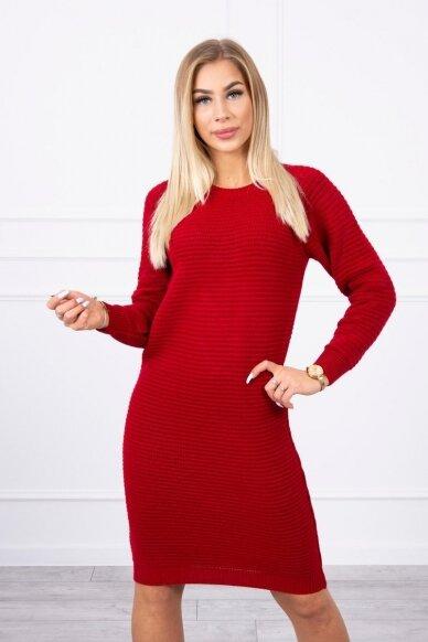 Raudonas ilgas megztinis suknelė MOD492 3