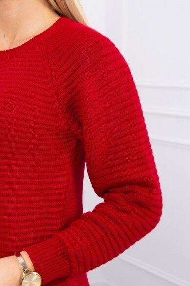 Raudonas ilgas megztinis suknelė MOD492 4