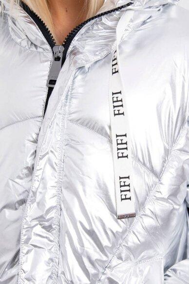 Sidabrinės spalvos žieminė striukė MOD774 5