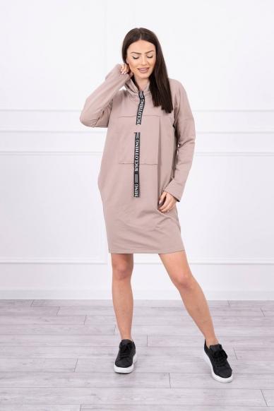 Smėlinės spalvos suknelė tunika MOD479 4