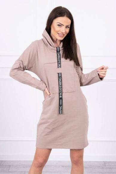 Smėlinės spalvos suknelė tunika MOD479