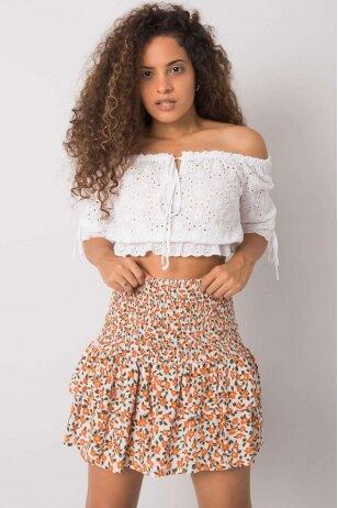 Baltos ir oranžinės spalvos sijonas MOD1156