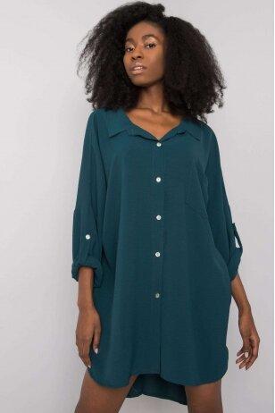 Tamsiai žali marškiniai suknelė MOD1270