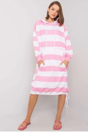 Baltos ir rožinės spalvos suknelė MOD1151