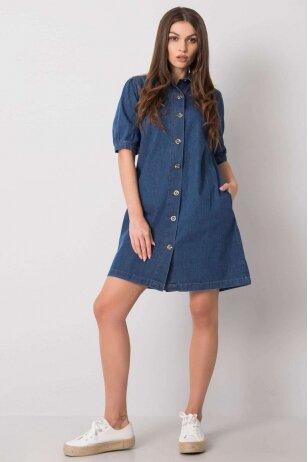 Tamsiai mėlyna džinsinė suknelė MOD997