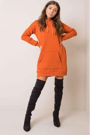 Tamsiai oranžinė suknelė tunika MOD1209