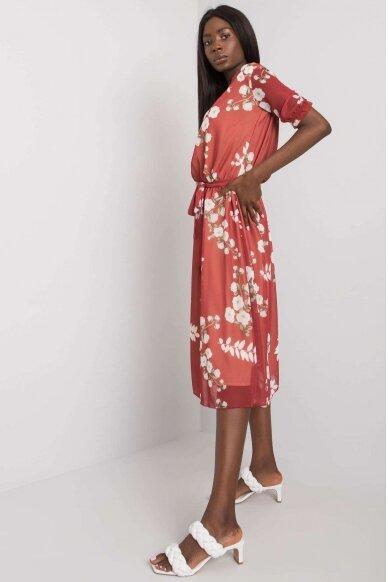 Kaštoninės spalvos suknelė MOD1144 2