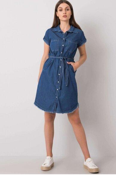 Tamsiai mėlyna džinsinė suknelė MOD986 2