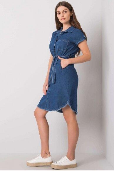 Tamsiai mėlyna džinsinė suknelė MOD986 3