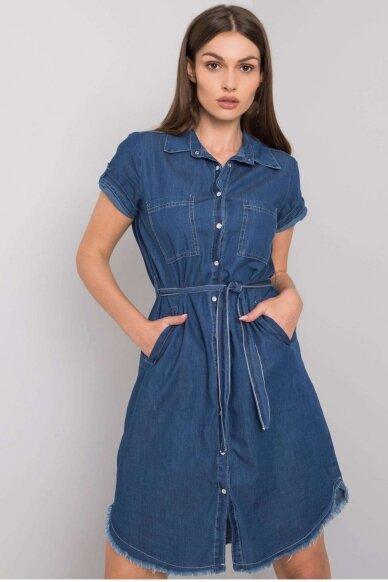 Tamsiai mėlyna džinsinė suknelė MOD986