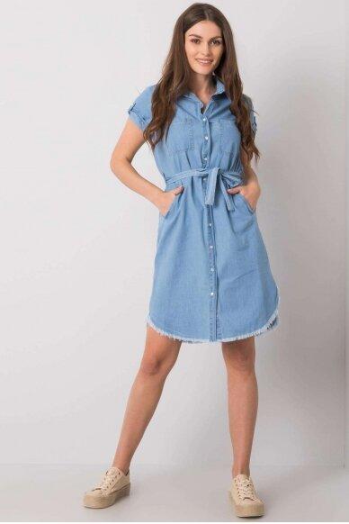 Mėlyna džinsinė suknelė MOD986 2