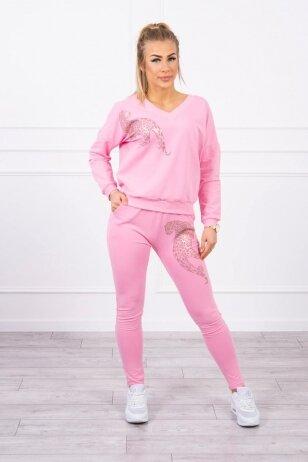 Šviesiai rožinės spalvos sportinis kostiumas MOD765