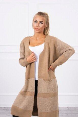 Šviesiai rudas ilgas megztinis kardiganas MOD446