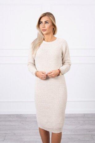 Šviesiai smėlinės spalvos ilgas megztinis suknelė MOD492