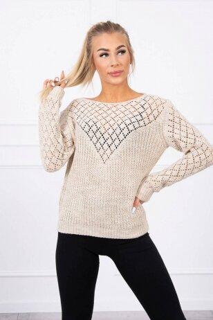 Šviesiai smėlinės spalvos megztinis MOD489