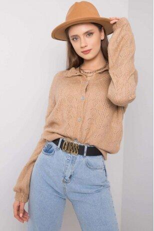 Šviesiai rudas megztinis MOD1218
