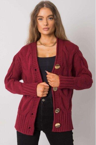 Kaštoninės spalvos megztinis MOD1364 2