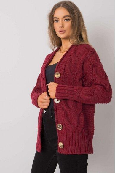 Kaštoninės spalvos megztinis MOD1364 3