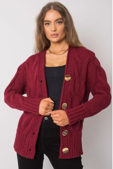 Kaštoninės spalvos megztinis MOD1364