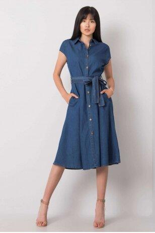 Tamsiai mėlyna džinsinė suknelė MOD1065
