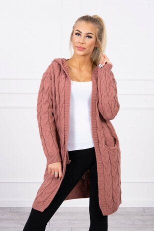 Tamsiai rožinės spalvos megztinis kardiganas MOD444