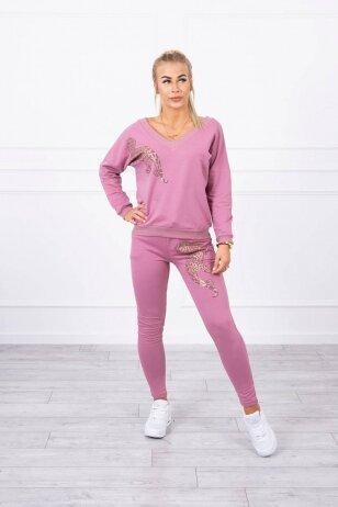 Tamsiai rožinės spalvos sportinis kostiumas MOD765