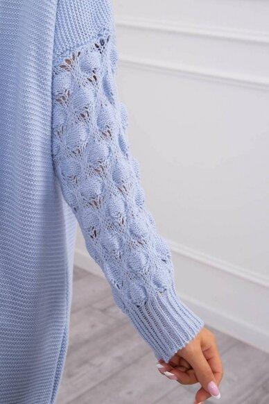 Žydros spalvos ilgas megztinis kardiganas MOD729 4